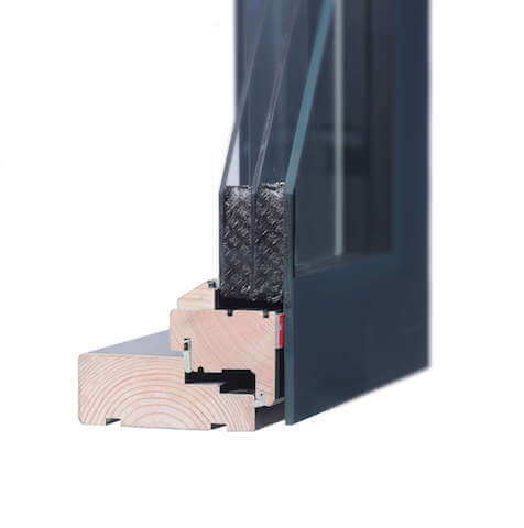glass wood composite window