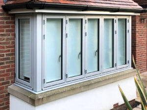 Alu clad timber bay windows