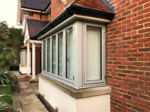 Mid grey composite bay windows