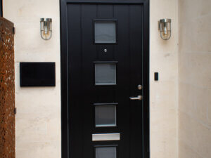 Modern Front Door with Square Glass Cutouts